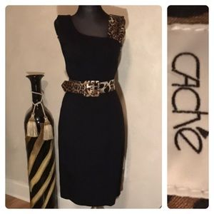 Cache Black Sleeveless Belted Dress
